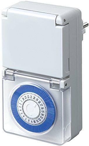 Brennenstuhl Zeitschaltuhr MMZ 44, mechanische Timer-Steckdose (Tages-Zeitschaltuhr, IP44 geschützt, Kindersicherung & Schutzabdeckung) Farbe: weiß
