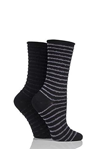 Ladies 2 Pair Elle Bamboo Feather Striped Socks Slate Black 4-8 Ladies