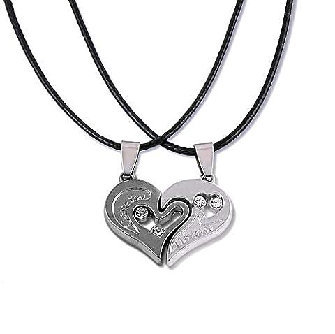 Bodya Lot de 2pendentifs en forme de cœurs avec collier