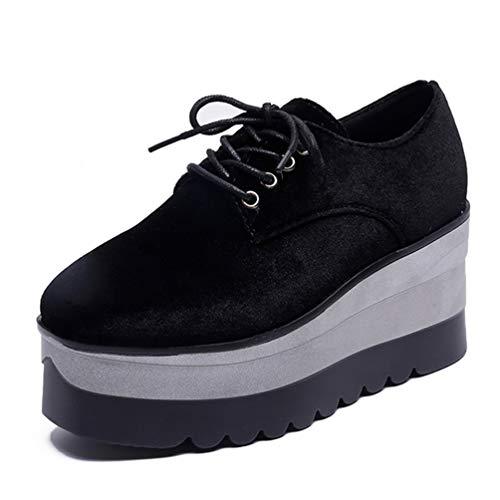 Frauen-Oxfords-Plattform-Müßiggänger-Schuhe Frühlings-Flock-Creeper-Ebenen schnüren Sich Oben Runde Runde Zehe-Damen-beiläufige Schuhe