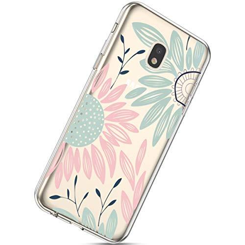 Handyhülle Kompatibel mit Samsung Galaxy J7 2017 Schutzhülle Transparent Weiche Silikon Durchsichtig Schutzhülle Muster Crystal Silikonhülle Ultradünnen TPU Handy Tasche Stoßfest Bumper Case,Sonnenblu