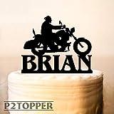 Motorrad-Tortenaufsatz mit Motorrad-Motiv, für Geburtstagskuchen, Motorrad, Geburtstag, Biker, Kuchenaufsatz, Topper 0151