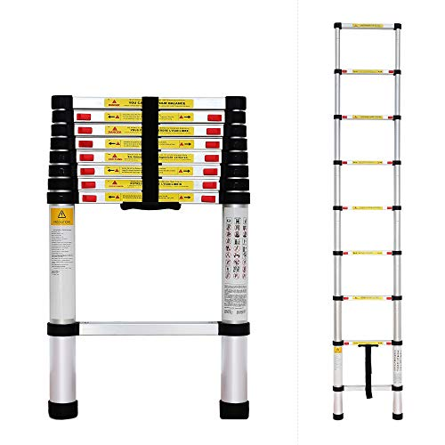 Todeco - Escalera Telescópica, Escalera Plegable - Carga máxima: 150 kg - Estándar/Certificación: EN131 - 2,6 Metro(s), EN 131