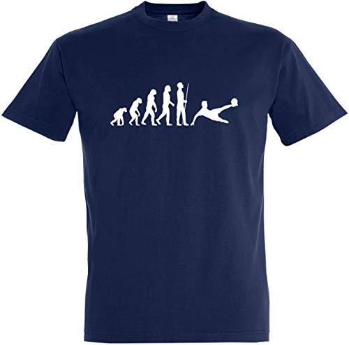 Herren T-Shirt Fußball Evolution (M, Dunkelblau)