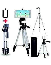 Ionix Imported Tripods for Mobile Adjustable Aluminium Alloy Tripod Stand Holder for Mobile Phones and Camera, 360 mm -1050 mm, 1/4 inch Screw + Mobile Holder Bracket