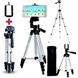 Ionix Imported Tripods for Mobile Adjustable Aluminium Alloy Tripod Stand Holder for Mobile Phones & Camera, 360 mm -1050 mm, 1/4 inch Screw + Mobile Holder Bracket, Mobile Stands for Video Recording