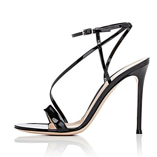 Donna tacchi golden strap piattaforma fine comfort dance sandali/oro/nero , black , 39