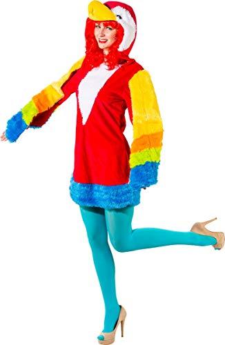 Unbekannt Damen Kostüm Papagei Birdy Kleid Bunt Tier Vogel Fasching Karneval ()
