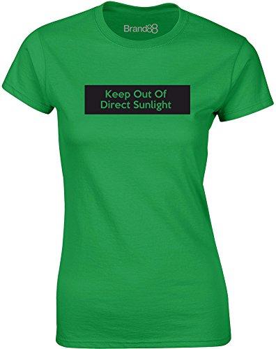 Brand88 - Keep Out of Direct Sunlight, Mesdames T-shirt imprimé Vert/Noir