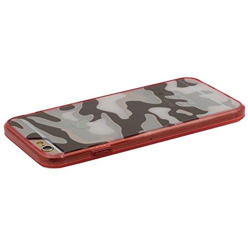 iPhone 6S Plus Doux Étui de protection, Camouflage Motif Série Coque de Protection Case pour Apple iPhone 6 Plus / 6S Plus 5.5 inch Transparent Svelte Poids léger Case rouge