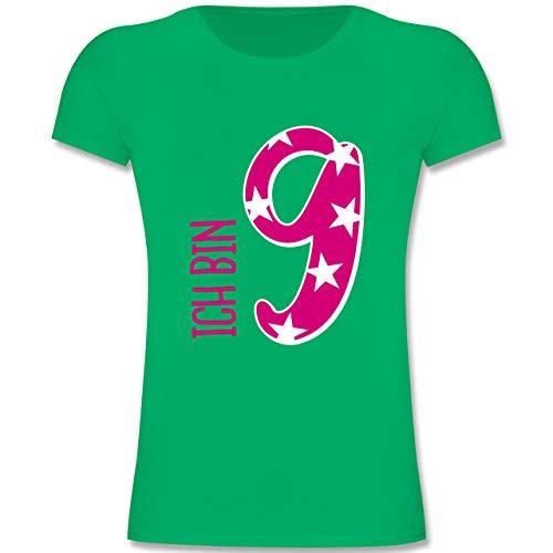 Geburtstag Kind - Ich Bin 9 Rosa Mädchen - 140 (9-11 Jahre) - Grün - F131K - Mädchen Kinder T-Shirt (Alt-geschenk-ideen 9 Jahre)