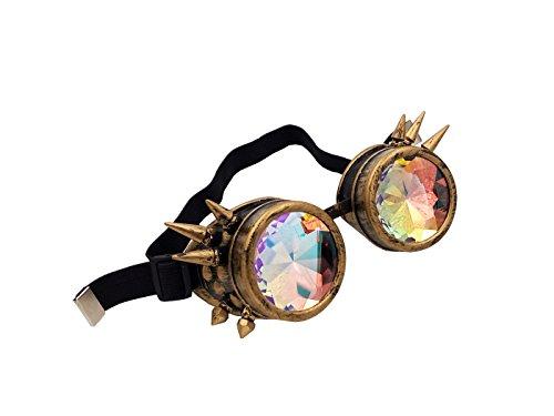 hotservice1Vintage Rustikal Cyber Kaleidoskop Brillen, Gruftistil, Cosplay Punk Gläser, gelb