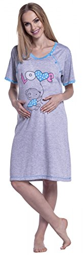 Happy Mama. Femme Maternité Chemise de Nuit Nuisette Grossesse Allaitement. 141p Cyan