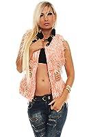 10145 Fashion4Young Damen Luxuriöse trendige Fell-Weste Jacke Jäckchen verfügbar in 5 Farben 2 Größen