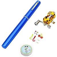SeniorMar Mini bolígrafo portátil Tipo caña de Pescar caña de Pescar telescópica con Carrete de Pesca Línea de Pesca Aparejos de Pesca Accesorios - Azul