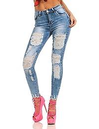 Fashion4Young Damen Jeans Röhre Skinny Damenjeans Stretch Denim Destroyed  Cut-Outs Risse e115c18cb1
