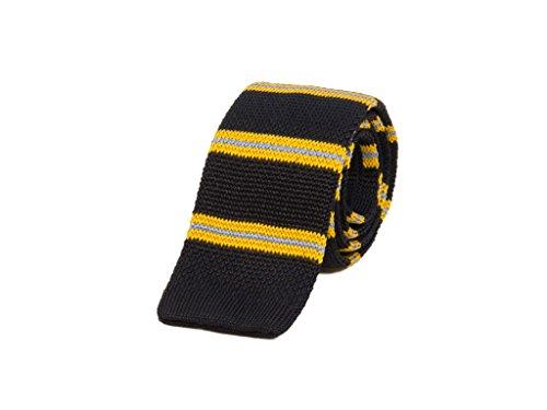 40 Colori - Corbata de punto a rayas Authentic Regimental de seda Nero-Vespa-Azzurro Talla única