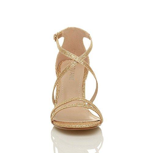 Femmes talon moyen haut lanières croisé mariage bal sandales chaussures taille Paillettes or