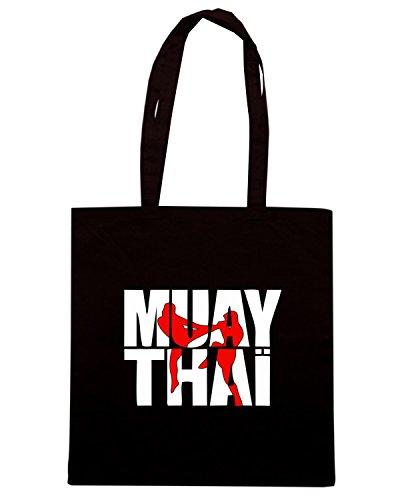 T-Shirtshock - Borsa Shopping TBOXE0091 Muay thai logo full Nero