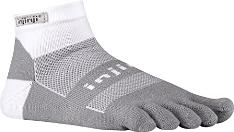 Injinji Run 2.0 Mid Weight Mini-Crew CoolMax Toe Socks-Grey White-L