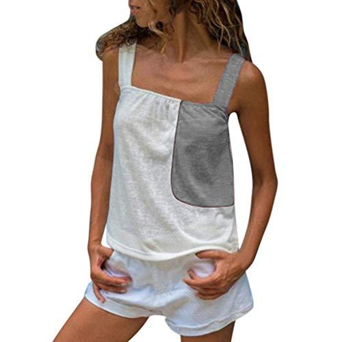 CAOQAO Frauen Sommer Colorblock Sleeveless Strap Mode LäSsig Camis Weste(Grau,XL)