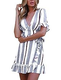 Vestido de fiesta mujer, Amlaiworld Mini vestido de cintura alta estampado a ray sexy mujer