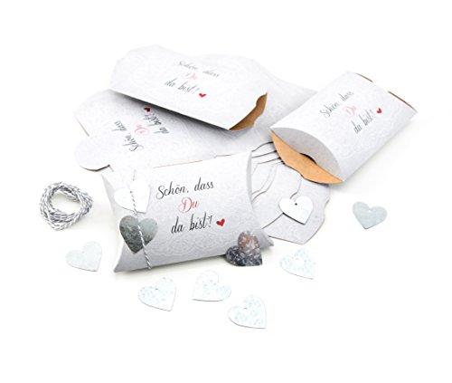 10 Stück SCHÖN DASS DU DA BIST Verpackung Gastgeschenk Hochzeit weiß rot schwarz - 14,5 x 10,5 cm + 3 cm hoch + 10 silberne Blech-Herzen Verpackung Mitgebsel give-way Gäste Kommunion Herz rot