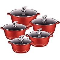 ASAB - Juego de 5 sartenes de cerámica Antiadherente para Cocina Redonda, Calentador de Alimentos