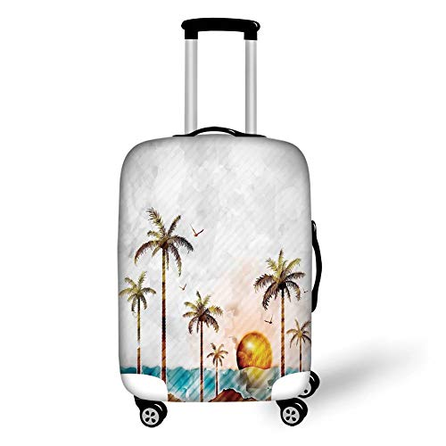 Travel Luggage Cover Suitcase Protector,Hawaiian,Watercolor Style Tropical Island with Coconut Trees and Birds Sunset Art Print,Green Brown,for Travel Island-style-sushi-set