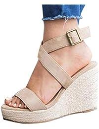 a62a764e6765 Tomwell Femmes Mode Imprimé Léopard Sandales Corde Lanière Cheville Sandale  Talon Compensé Plateforme Cuir Suédé Chaussures
