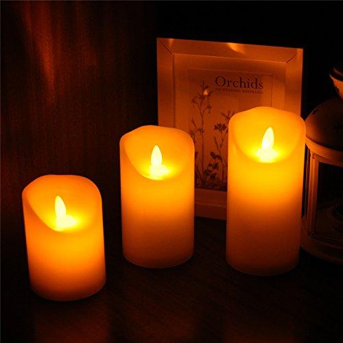 Samoleus Flameless velas-parpadeo Flameless velas Set - velas sin llama decorativas: 8cm x H10cm/12.5cm/15cm cera verdadera clásica pilar con movimiento LED llama y Control remoto de 10 teclas-2/4/6/8 horas reloj (Blanco cálido)