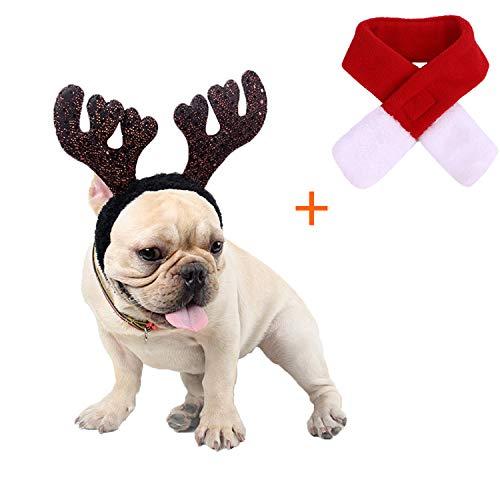 Kungfu Mall Hundeweihnachtsoutfit Kleines Hundekostüm Weihnachten Rentier Geweih Mütze & Schal Weihnachten Rot Kostüm Anzug Haustier Weihnachtskostüm