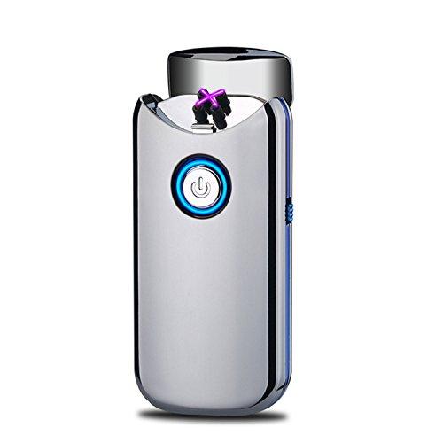 Encendedor Electrico,Modesty Mechero Electrico Doble Arco USB, Tapa abierta automáticamente, Mechero Recargable de Plasma Sin Llama (Silver) - EC003
