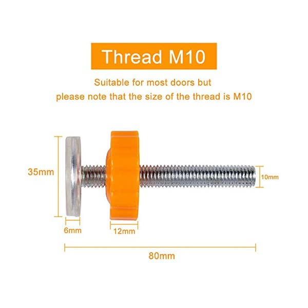 PERFETSELL 4 Pack Pressure Baby Gates Threaded Spindle Rods M10(10mm) Walk Thru Gates Accessory Screw Bolts Kit Fitting for Pressure Mounted Baby Safety Gates/Pet Safety Gates/Stair Gates(Orange) PERFETSELL 【Package Included】: Package included total 4 pack threaded Spindle Rods .Size:diameter M10 (10mm), length 80mm ,fit for all pressure mounted baby gates or pet gates.4 pack threaded spindle rods replacement, bring your old gate back into use,save you from buying a new gate. 【High Quality】:Our threaded spindle rods with steel core screw & ABS plastic, durable and reusable.Solid material that won't crack with pressure, help to make the banister gate fit snug and sturdy, so as to ensure safety of the kids or pets. 【Protection & Stability】:Make your baby gates more stable and do not failing over. Great way to protect the wall or your stair banisters. Rubber ends to protect your staircase from being scratched.Work great as replacement wall grips for our gate.(Do not use it at the top of the stairs.) 2