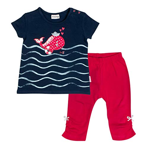 SALT AND PEPPER Baby-Mädchen Set Meer Uni Wal Bekleidungsset, Mehrfarbig (Navy Hibiscus Red 455-360), 80 -