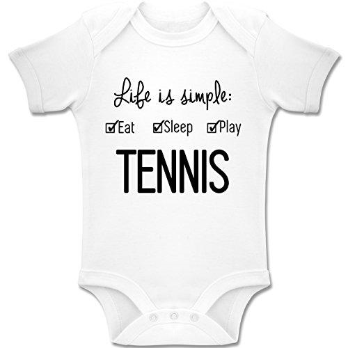 Sport Baby - Life is Simple Tennis - 12-18 Monate - Weiß - BZ10 - Baby Body Kurzarm Jungen Mädchen