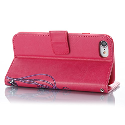 Etui Housse Coque pour iPhone 7/iPhone 8,PU Leather Case for iPhone 7/iPhone 8,Hpory élégant Fashion 3D Design Colorful Painted with Lanyard PU Cuir Case Book Style Folio Stand Fonction Support PU Lea Rose rouge, Fleur