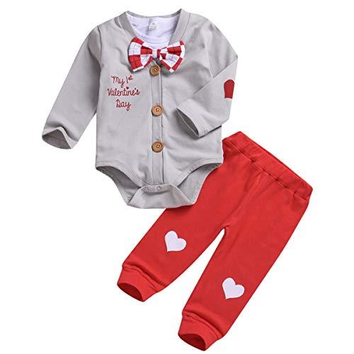 puseky Baby mein 1. Valentinstag Outfits Gentleman Fliege Strampler Outwear Mantel Hose Set (Color : Grey, Size : 12-18M)