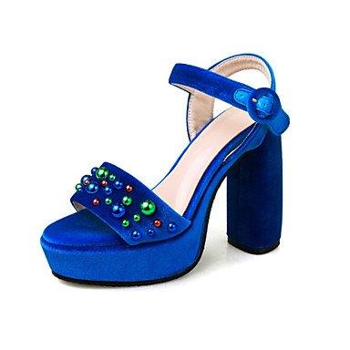 LvYuan Sandali-Tempo libero Formale Casual-Comoda Innovativo Club Shoes-Quadrato-Felpato Lustrini Materiali personalizzati-Blu Verde Dark Blue