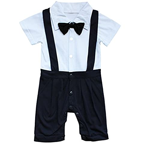 YiZYiF Infant Toddler Boy Baby Bowknot Gentleman Romper Jumpsuit Outfit Clothes Navy Blue 9-12
