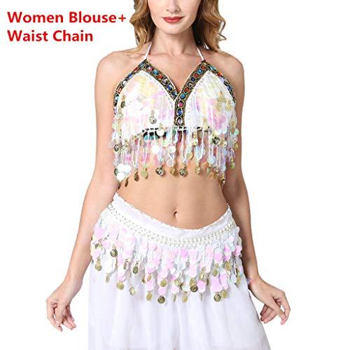 Xuthuly Damen Bauchtanz Kostüm Pailletten Oberteil Top BH Belly Dance Skirt Tanzbekleidung