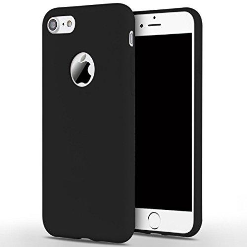 Cover iPhone 7 (4.7),ToDo iPhone 7 Custodia Silicone Ultra Morbido Satinate Opaco Ultra Sottile TPU Flessibile Gomma Cassa Protettiva Gel [Anti-scivolo] [Anti-Graffio] [Antiurto] Leggero Cellulari Pr Nero