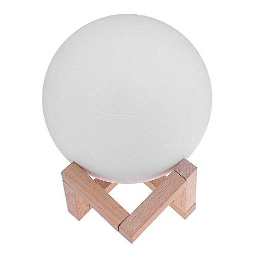 (Jasmin FS Wiederaufladbare 3D Druck Fußball Lampe LED Nachtlicht Bunte Schlafzimmer Dekoration Nachtlichter Kindertag Geschenk Mond Lampe 8 cm)