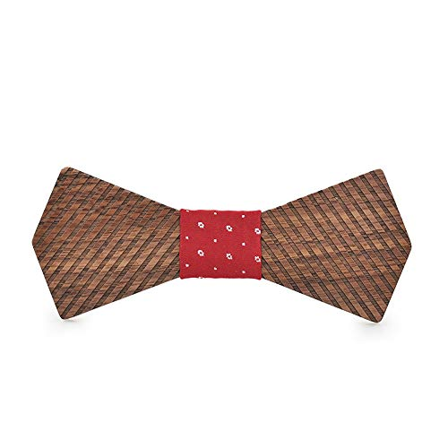Easy Go Shopping Herren Damen 3D Holz Fliege gestreift Weihnachtsgeschenk Geburtstag Taschentuch Klassische handgemachte Hochzeit Schmetterling Kostüm Krawatte (Farbe : Rot, Größe : 5 * 9.5cm)