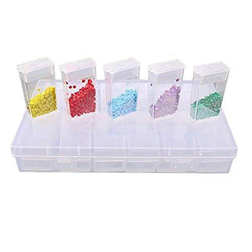 Sprießen 24 Grids Plastic Box Organizer Medizin Fall Schmuck Aufbewahrungsbox Stickerei Aufbewahrungskoffer Diamant-Zubehör Werkzeuge, transparente leere Fall, Nail Art , Strasssteine, Perlen, DIY Cra -