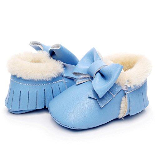Babyschuhe Longra Baby Schneestiefel Bowknot weiche Sohle weiche Krippe Baumwolle Schuhe Lauflernschuhe Krippeschuhe Kleinkind Stiefel (0-18 Monate) Blue