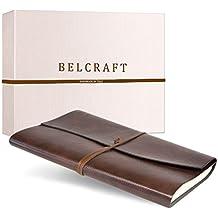 Tivoli A4 großes Notizbuch aus recyceltem Leder, Handgearbeitet in klassischem Italienischem Stil, Geschenkschachtel inklusive, Tagebuch A4 (21x30 cm) Braun