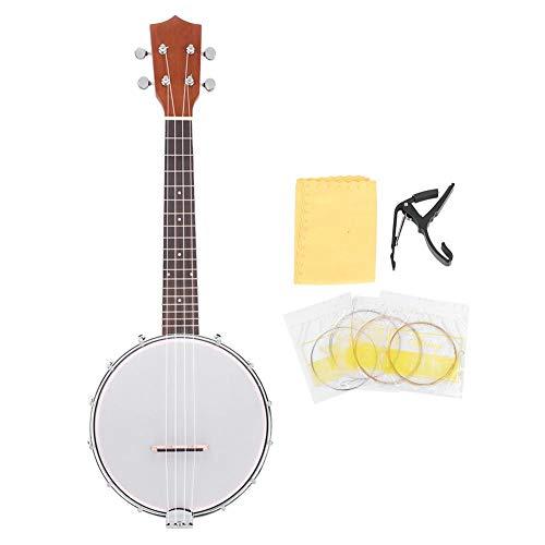 Dilwe 4 Saiten Banjo mit BJ10 Saiten Capo Reinigungstuch Set Musikinstrument Geschenk für Freunde musikalische Liebhaber