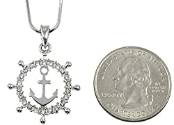 Crystal Embellished Silver Tone Ship Captain Wheel with Anchor Nautical Pendant Necklace Fashion Jewelry by GGG BOUTIQUE