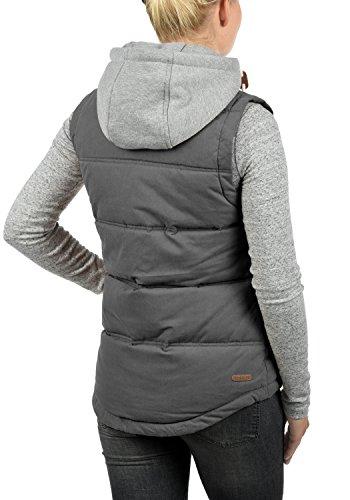 DESIRES Lewonda Damen Steppweste Übergangsweste mit Kapuze aus hochwertiger Baumwollmischung Dark Grey (2890)